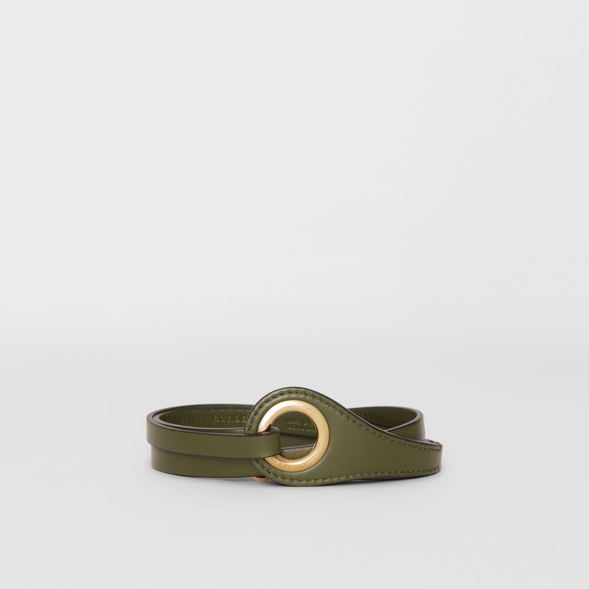 Grommet Detail Lambskin Belt in Dark Olive - Women | Burberry Australia - gallery image 0