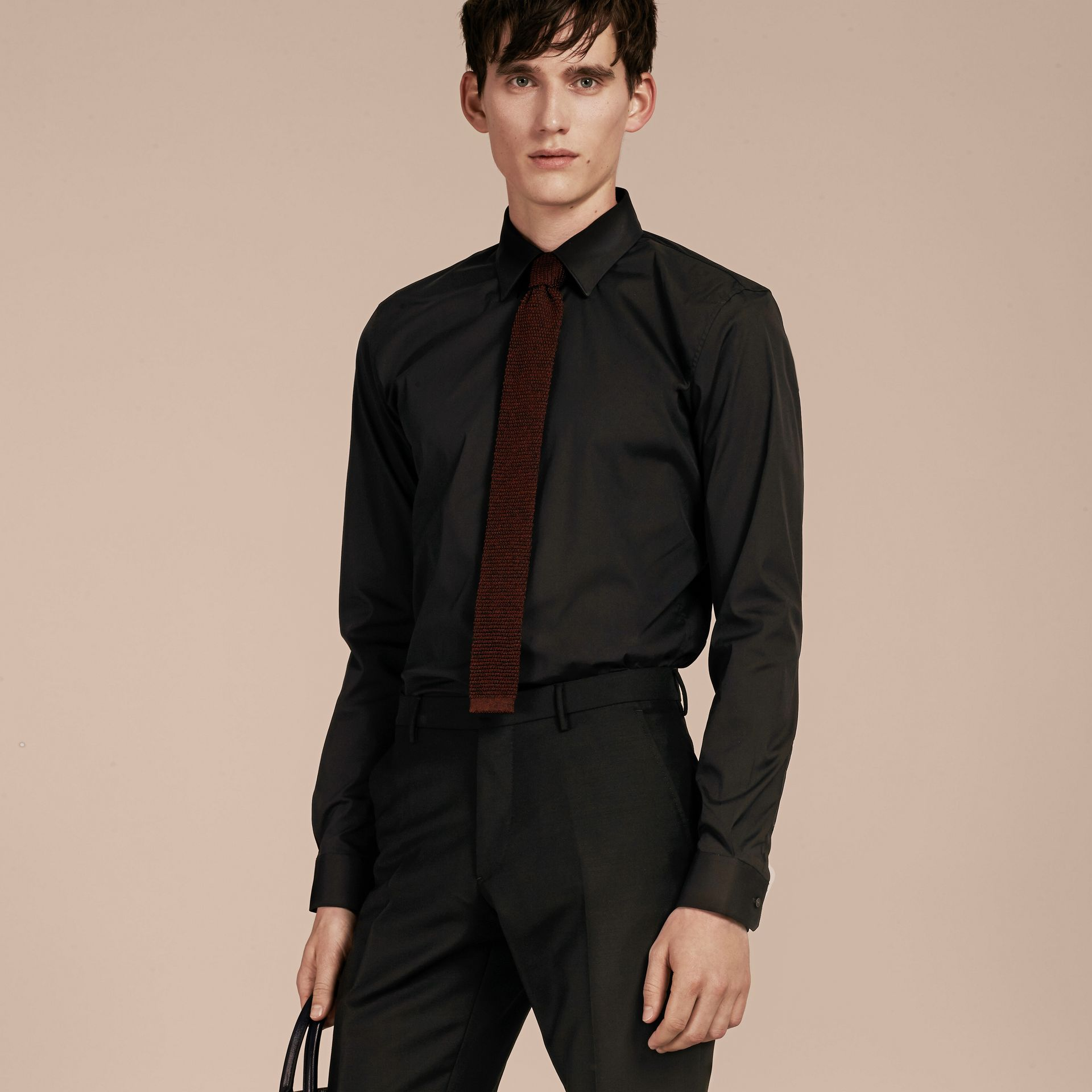 Slim Fit Stretch Cotton Shirt in Black - Men | Burberry - gallery image 6