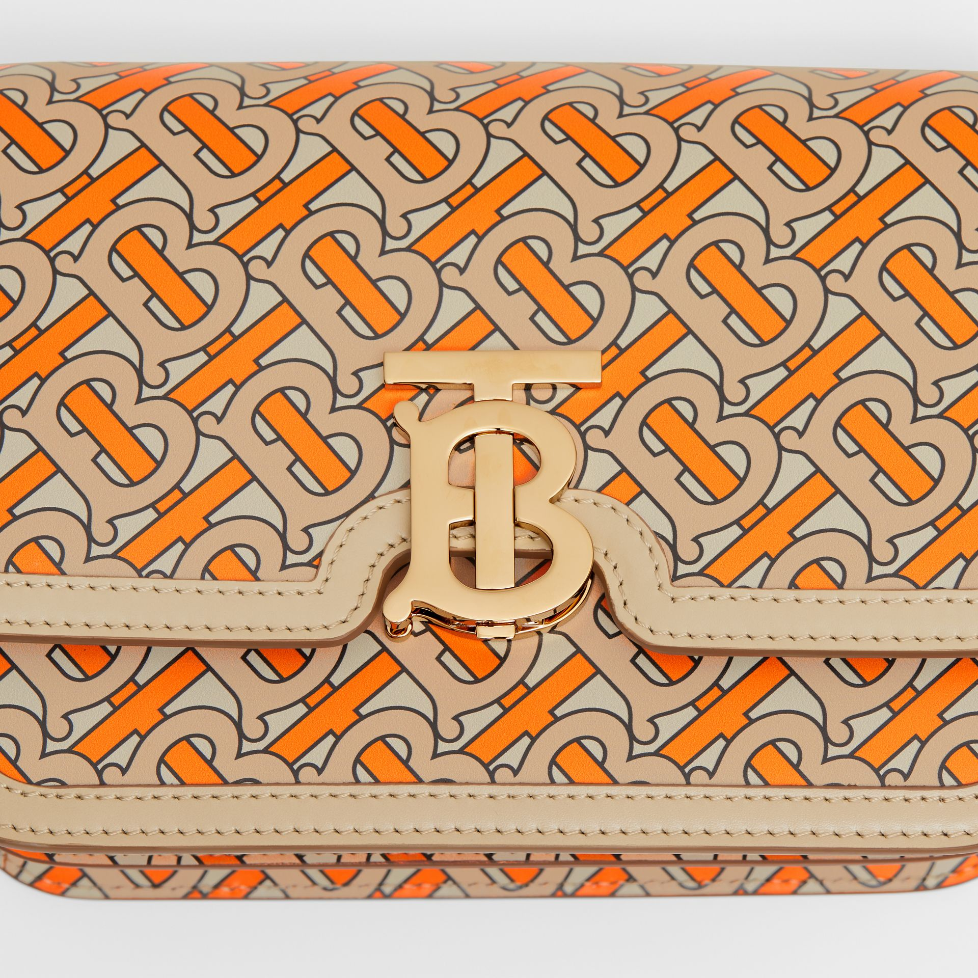 Small Monogram Print Leather TB Bag in Bright Orange - Women | Burberry - gallery image 1