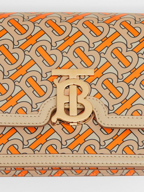 Small Monogram Print Leather TB Bag in Bright Orange - Women | Burberry - cell image 1
