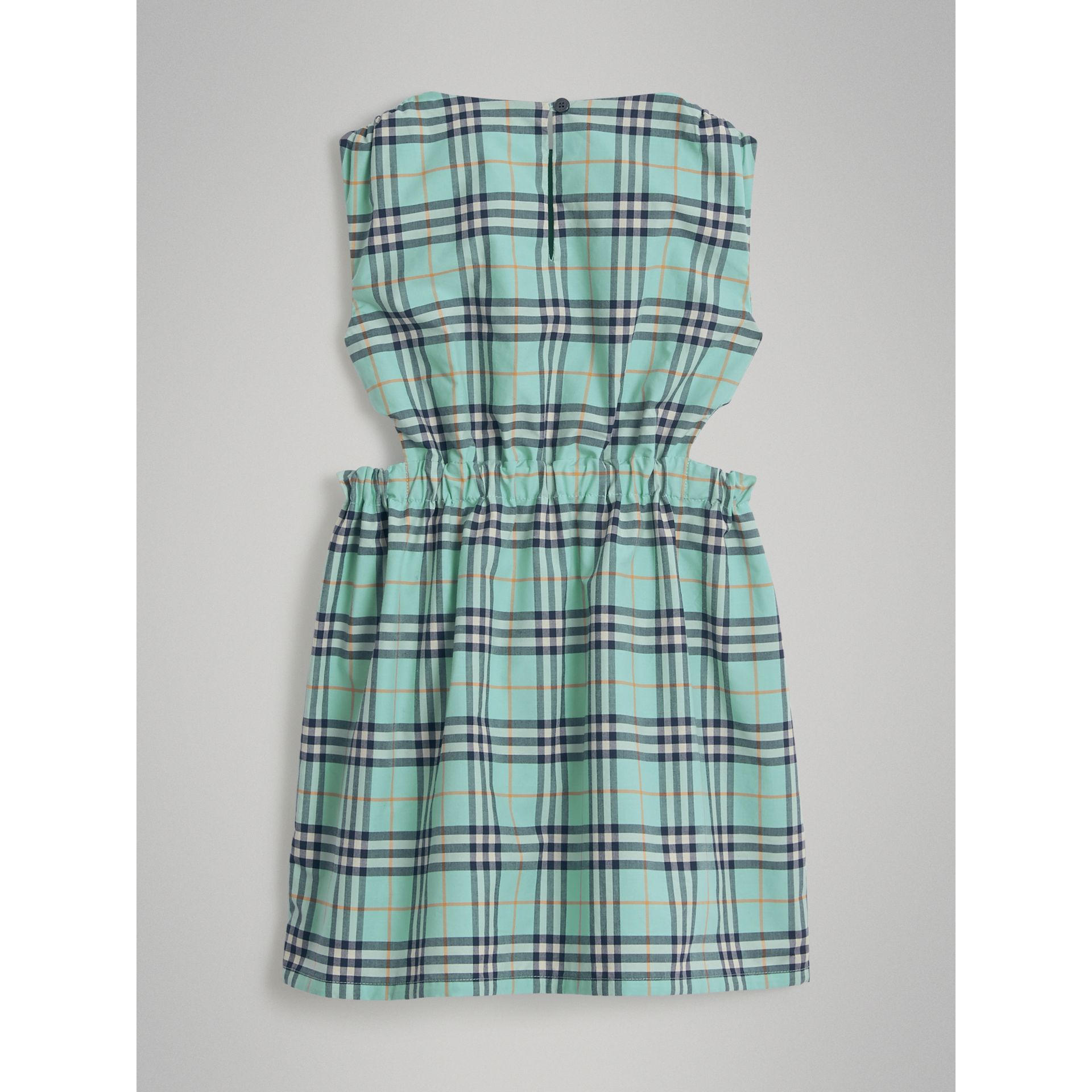 Tie Detail Check Cotton Dress in Bright Aqua | Burberry - gallery image 3