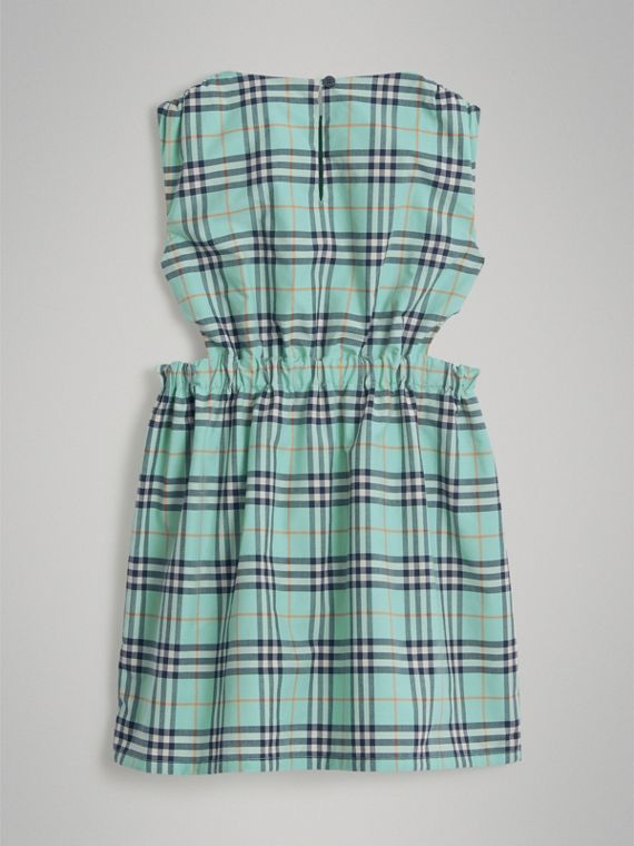 Tie Detail Check Cotton Dress in Bright Aqua - Girl | Burberry - cell image 3