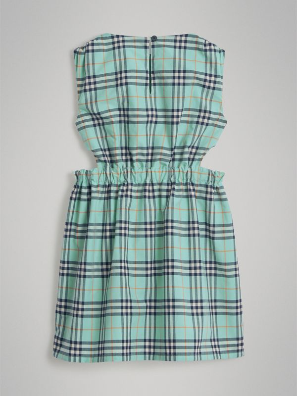 Tie Detail Check Cotton Dress in Bright Aqua | Burberry - cell image 3