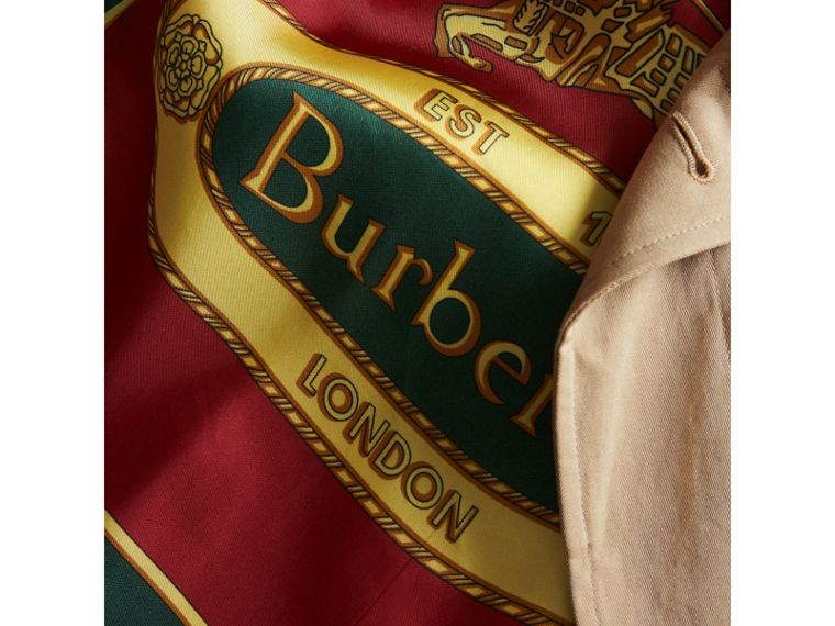 Archive-print-lined Tropical Gabardine Car Coat in Camel - Men | Burberry Australia - cell image 1