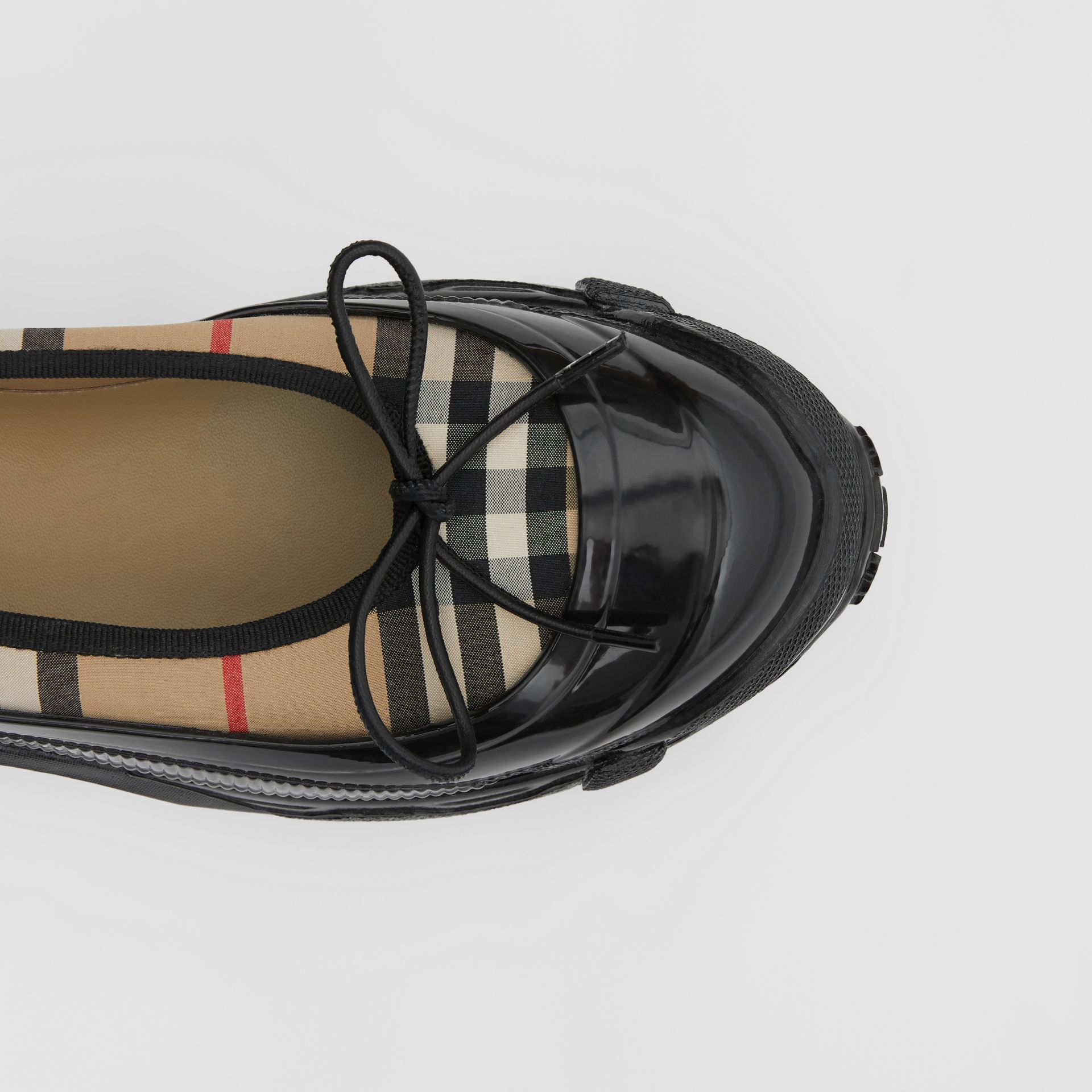 Overshoe Detail Vintage Check Cotton Flats in Archive Beige - Women | Burberry United States - gallery image 1