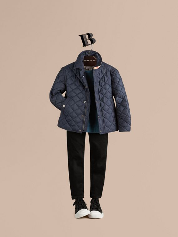 Diamond Quilted Jacket Ink Blue