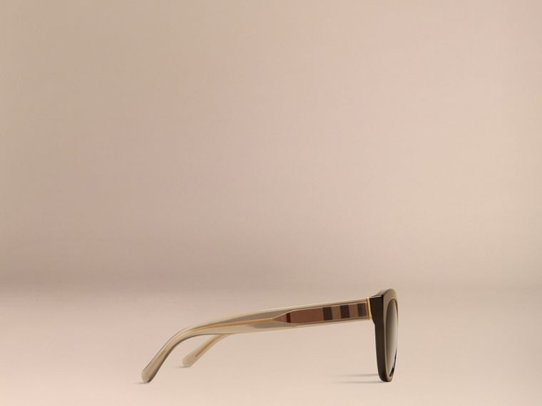 Black Check Detail Oval Polarised Sunglasses - cell image 4