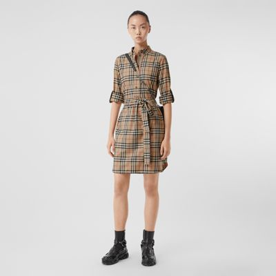 Vintage Check Stretch Cotton Tie Waist Shirt Dress by Burberry