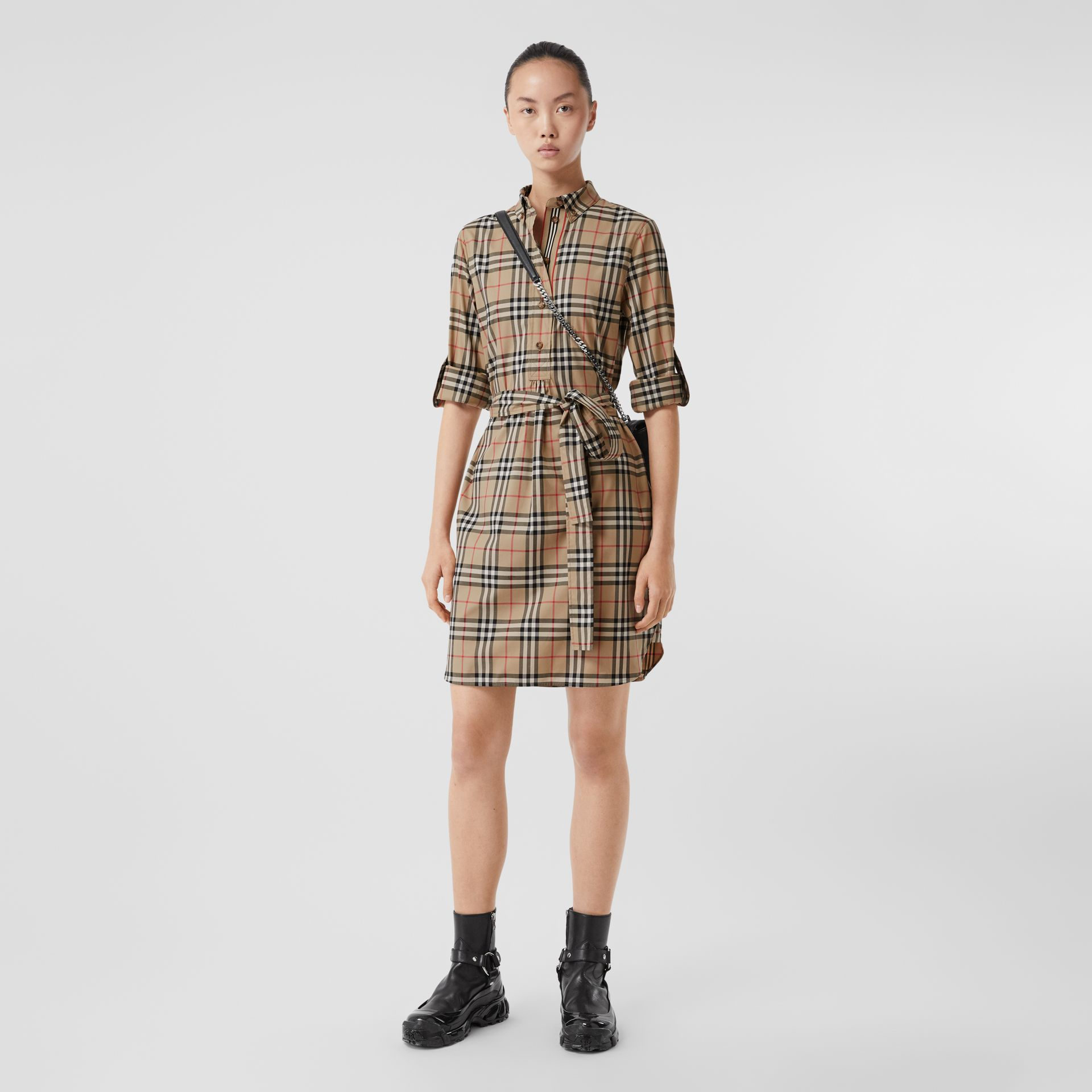 Vintage Check Stretch Cotton Tie-waist Shirt Dress in Archive Beige - Women | Burberry - gallery image 0