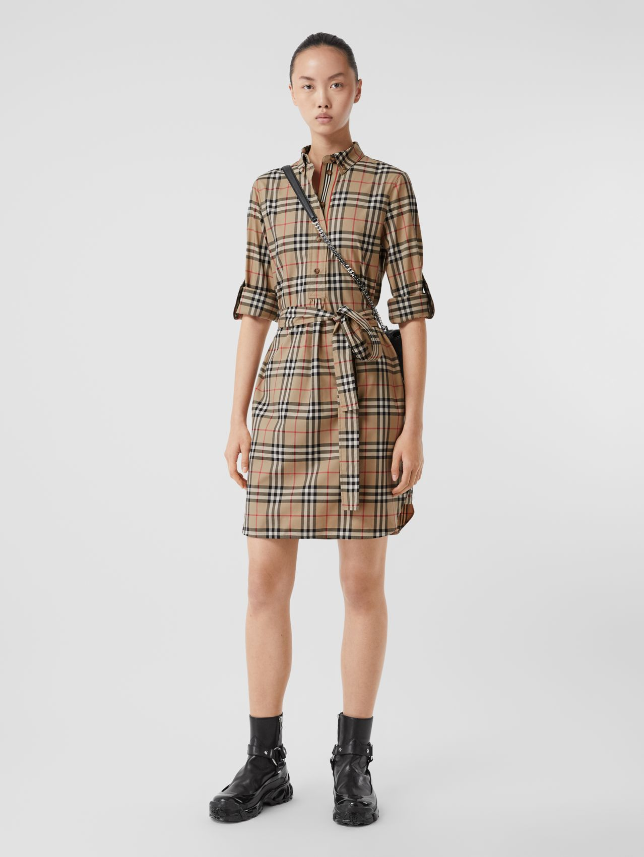 Vintage Check Stretch Cotton Tie-waist Shirt Dress in Archive Beige