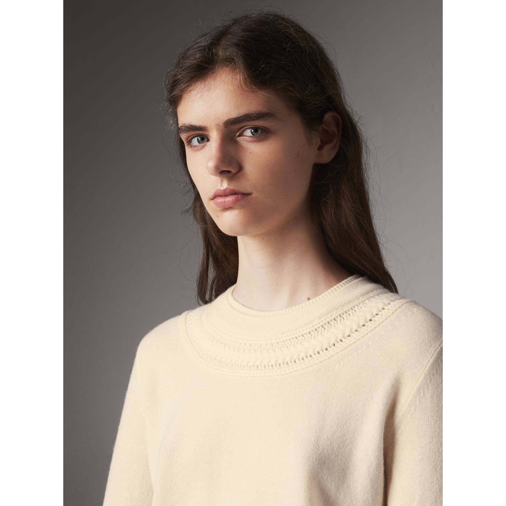 Cable Knit Yoke Cashmere Sweater in Natural White - Women | Burberry - gallery image 2