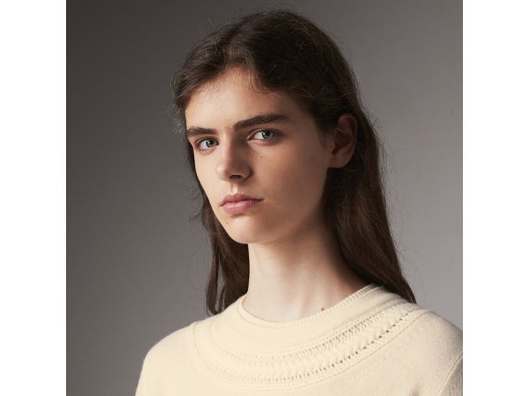 Cable Knit Yoke Cashmere Sweater in Natural White - Women | Burberry - cell image 1