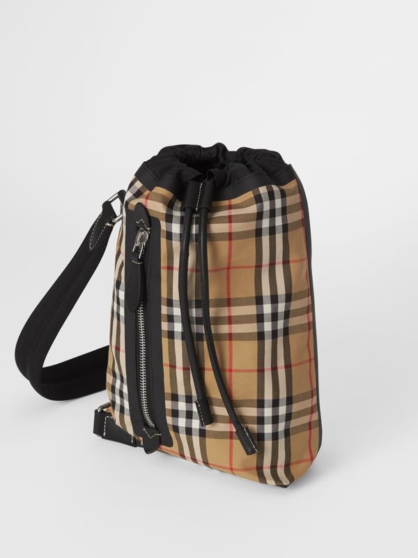 Small Vintage Check Canvas Duffle Bag in Antique Yellow - Women | Burberry Canada - cell image 2