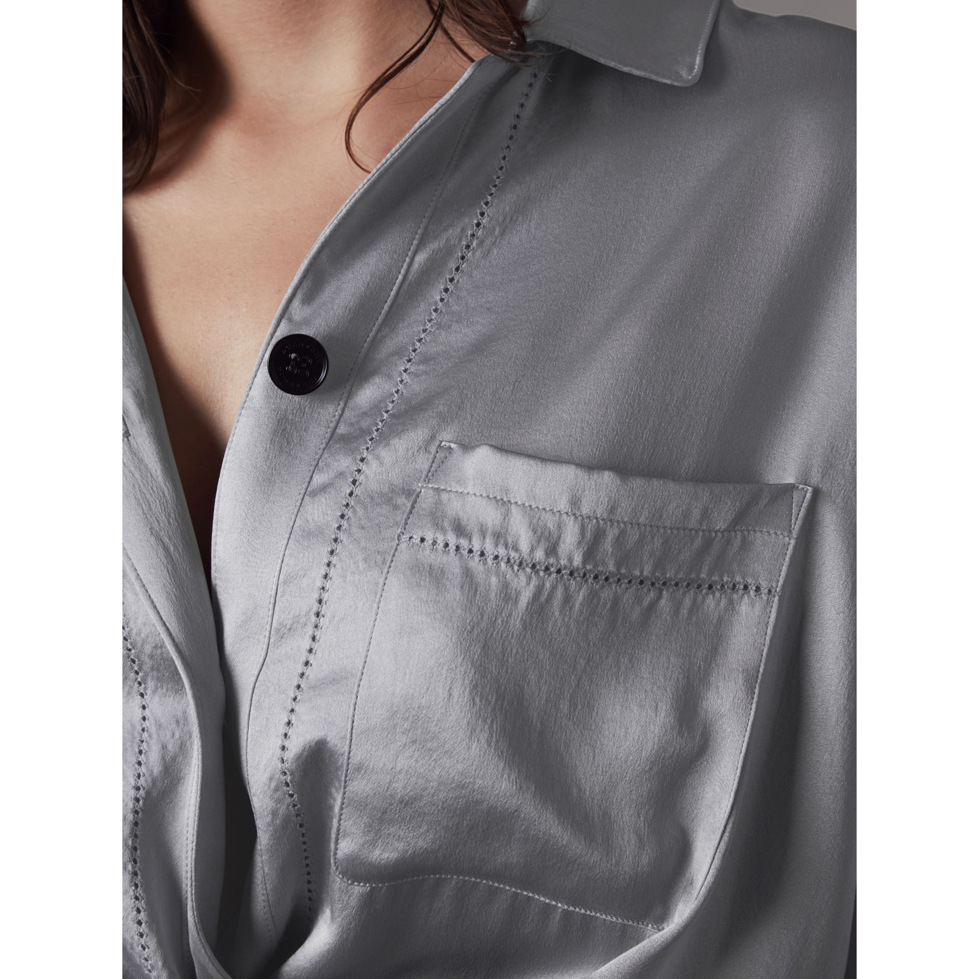 Washed Silk Satin Tie-waist Shirt Dress in Mineral Blue - Women | Burberry - gallery image 2