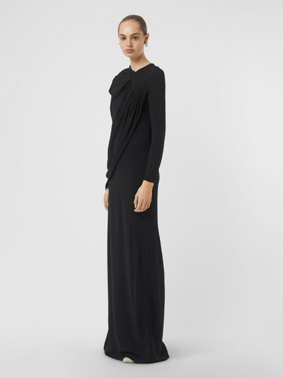 Cape-sleeve Stretch Jersey Gown in Black