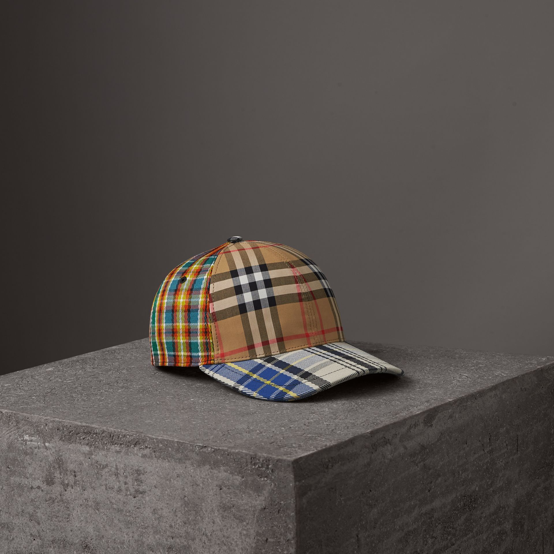 Patchwork Check Baseball Cap in Antique Yellow | Burberry Australia - gallery image 0