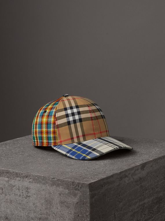 Patchwork Check Baseball Cap in Antique Yellow