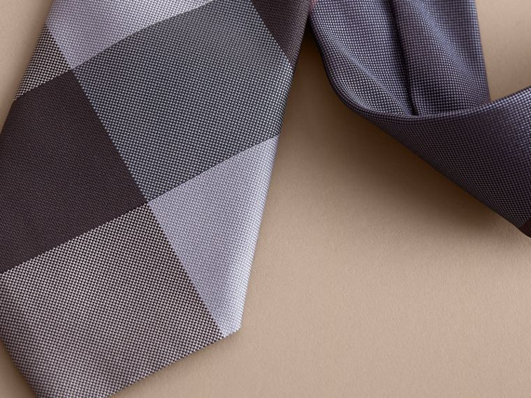 Modern Cut Check Silk Tie in Powder Blue - Men | Burberry - cell image 1