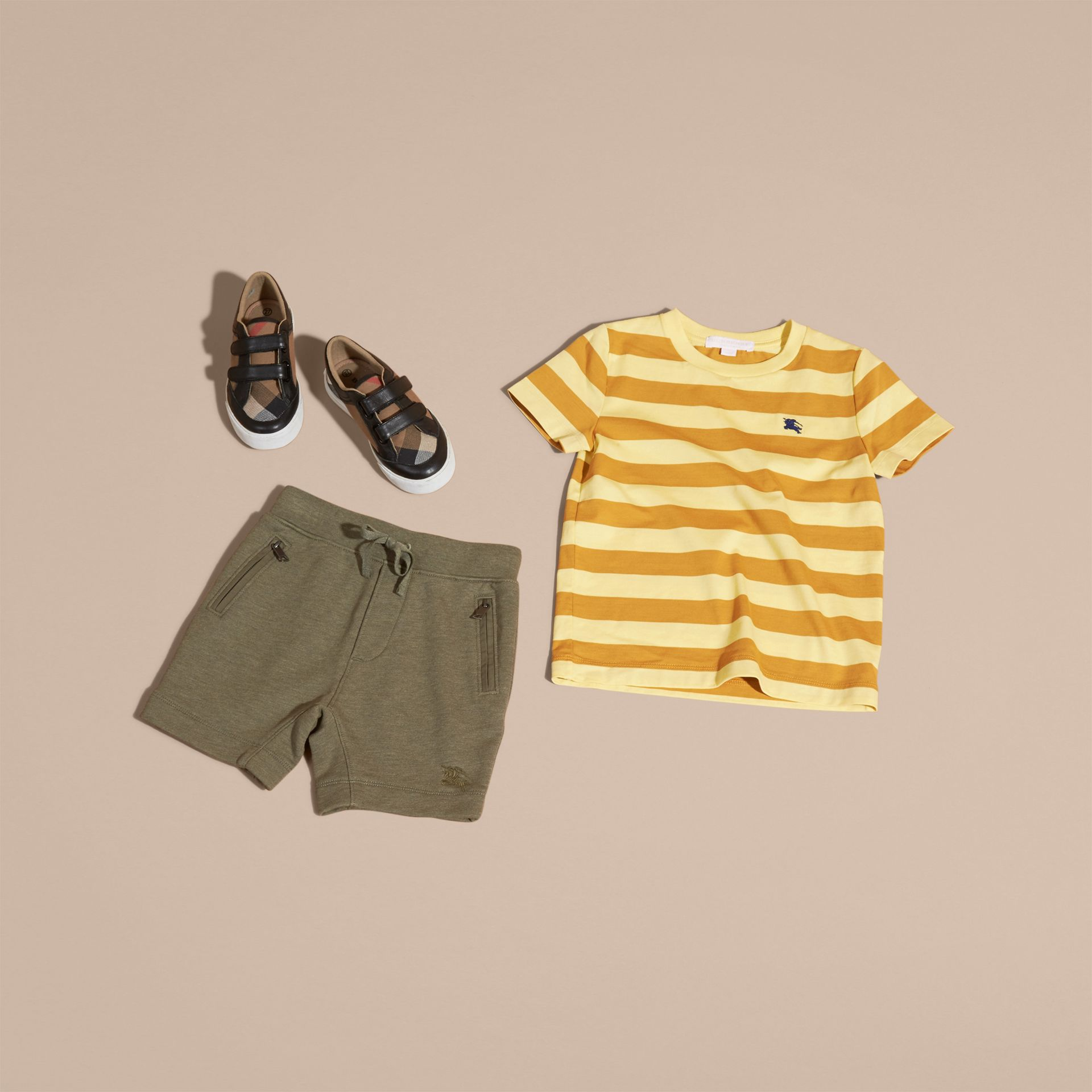 Cotton Jersey Drawcord Shorts in Khaki Green Melange - Boy | Burberry - gallery image 5