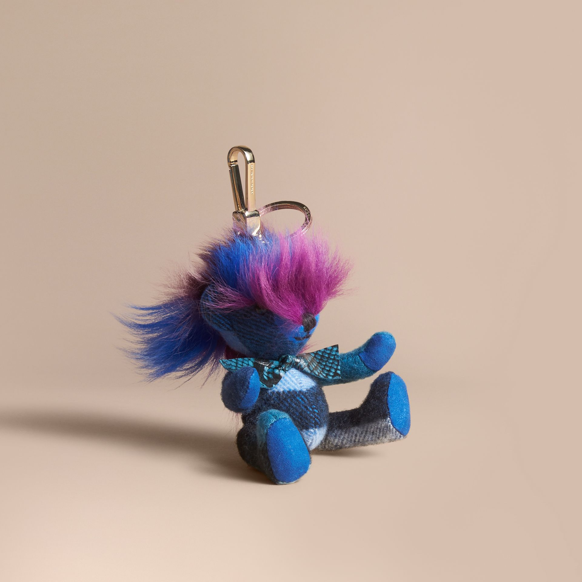 Thomas Bear Charm with Rainbow Shearling Trim in Bright Cornflower Blue - Women | Burberry - gallery image 1