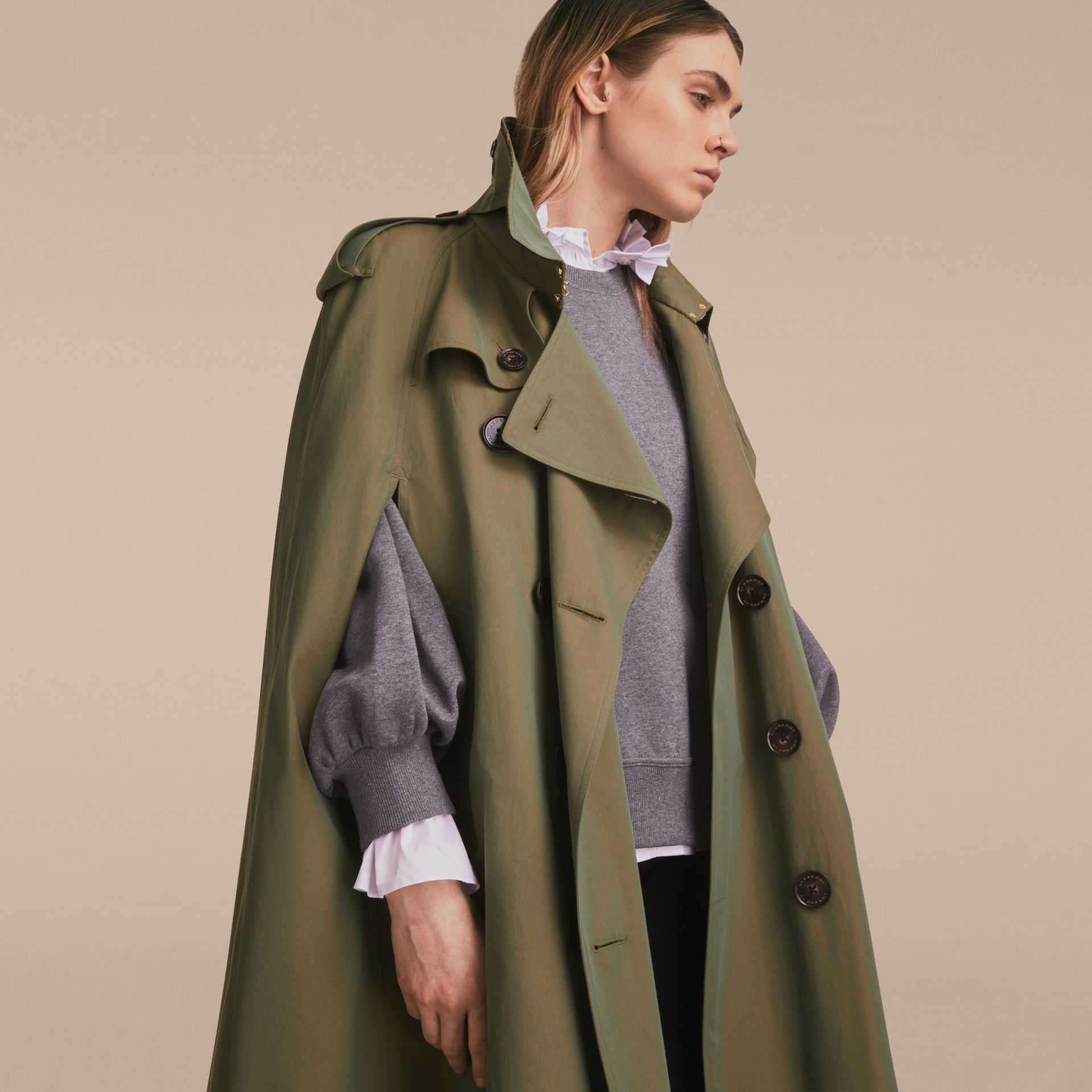 Tropical Gabardine Cape with Check Detail in Bright Olive - Women | Burberry - gallery image 6