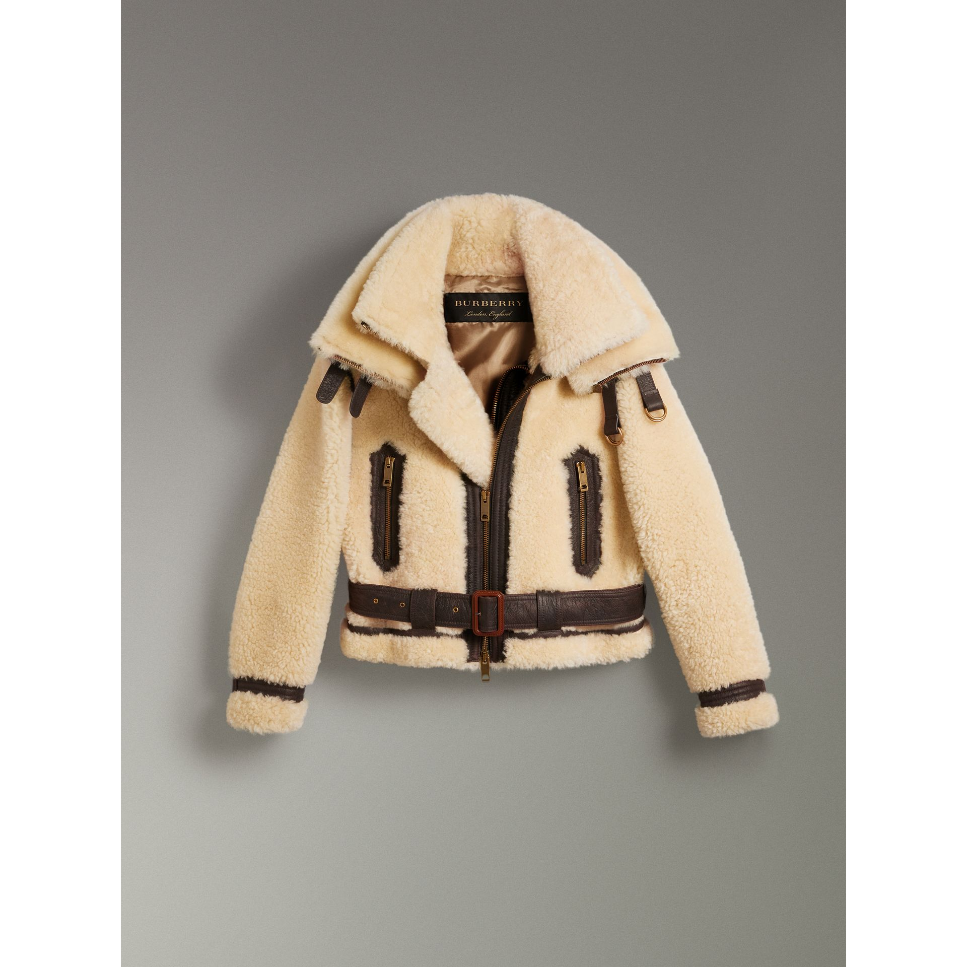 Reissued 2010 Shearling Aviator in Sand | Burberry Singapore - gallery image 3