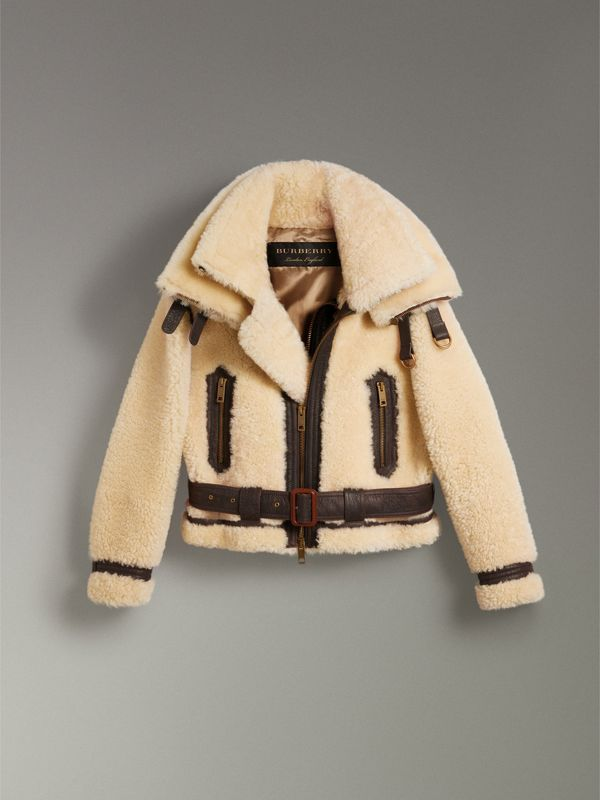 Reissued 2010 Shearling Aviator in Sand | Burberry Singapore - cell image 3