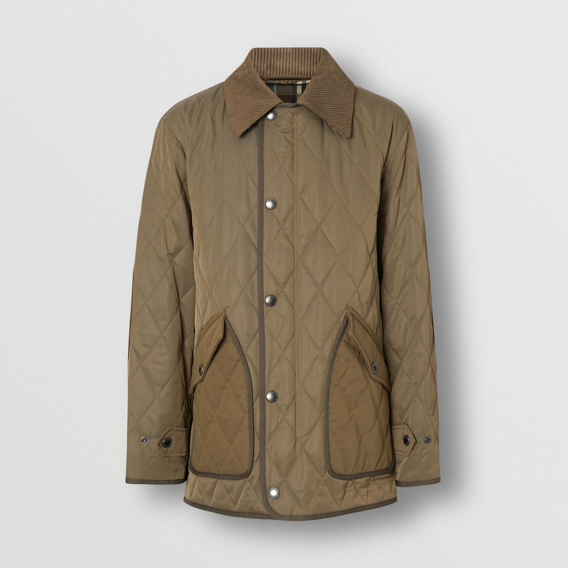 Diamond Quilted Thermoregulated Barn Jacket in Dark Olive - Men | Burberry Canada - gallery image 3