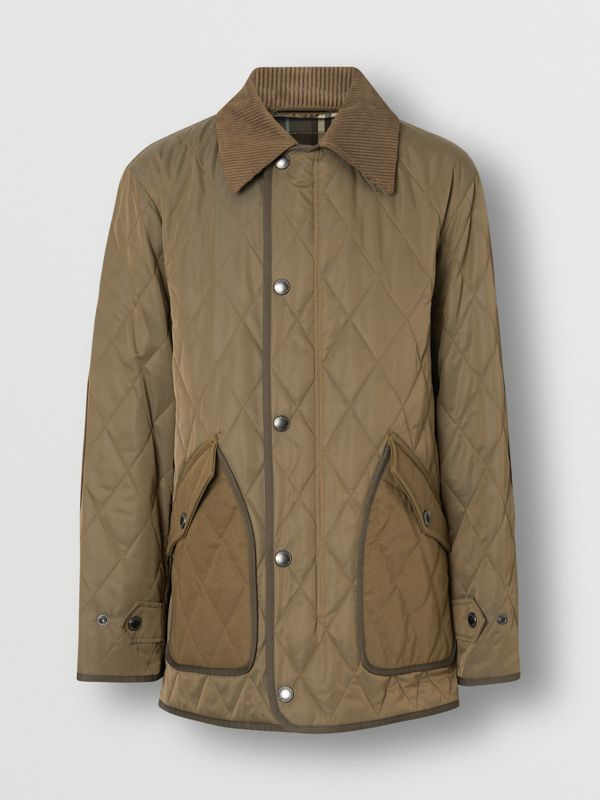 Diamond Quilted Thermoregulated Barn Jacket in Dark Olive - Men | Burberry - cell image 3