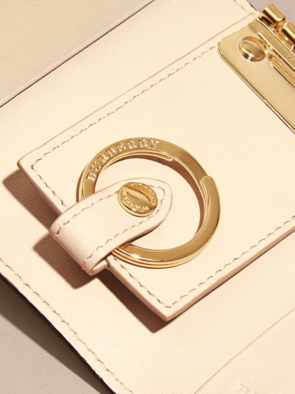 Grainy Leather Key Holder in Limestone - Women | Burberry - cell image 1