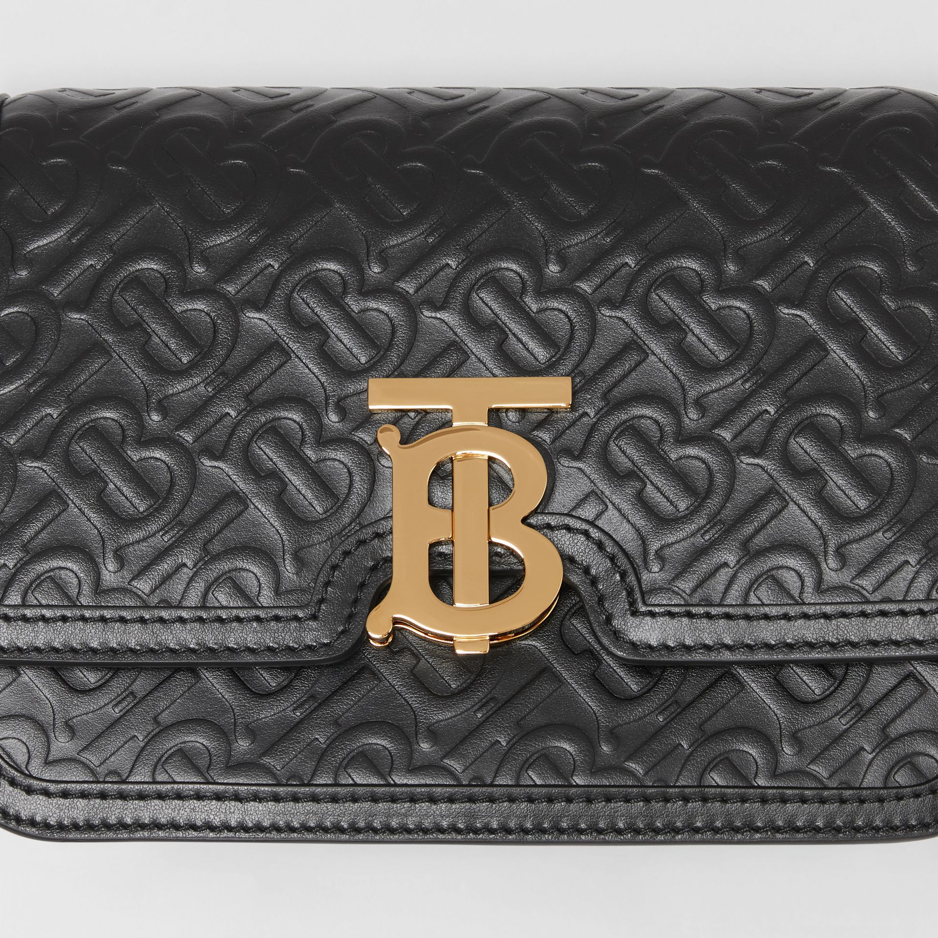 Small Monogram Leather TB Bag in Black - Women | Burberry - gallery image 1