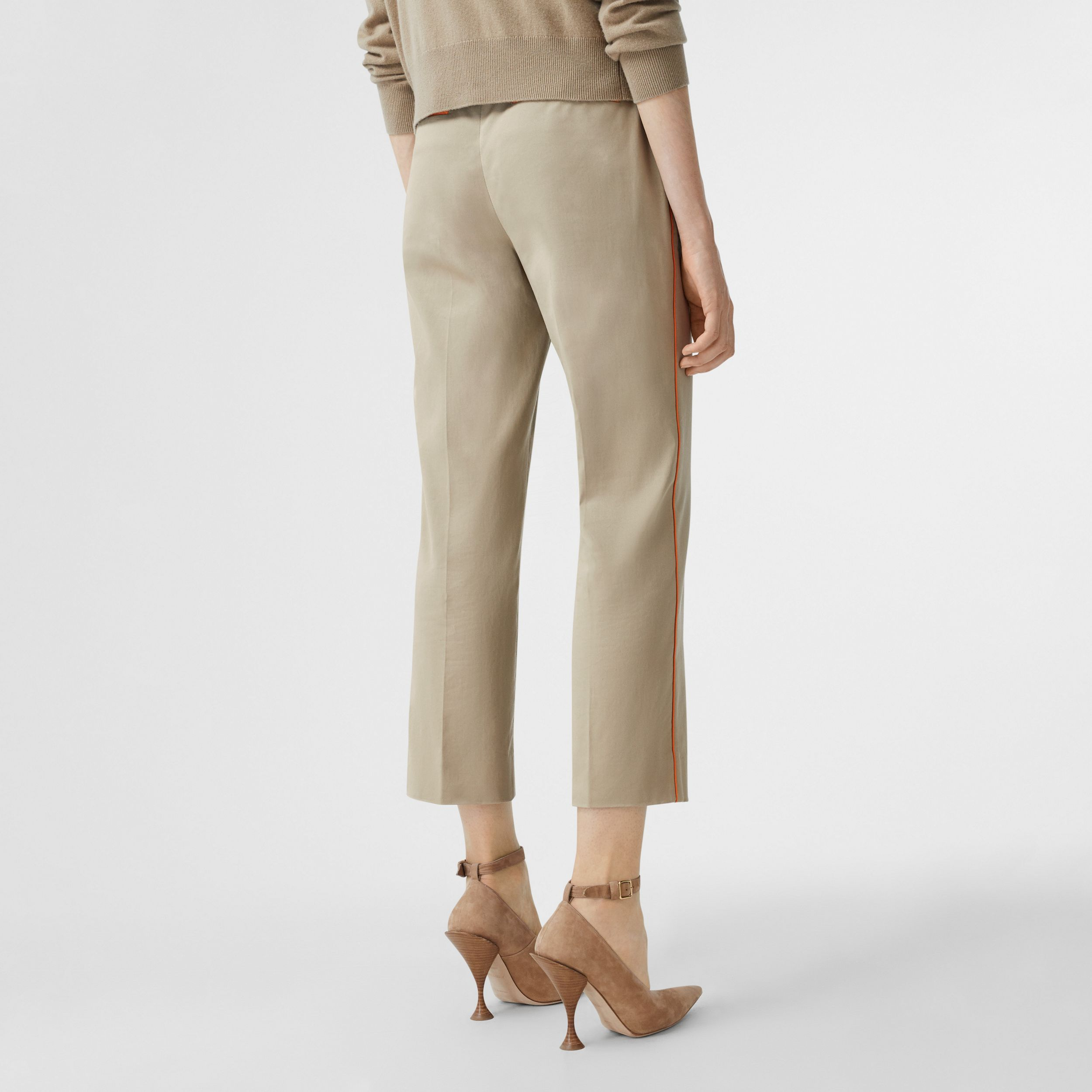 Silk Trim Cropped Cotton Chinos in Honey - Women | Burberry - 3
