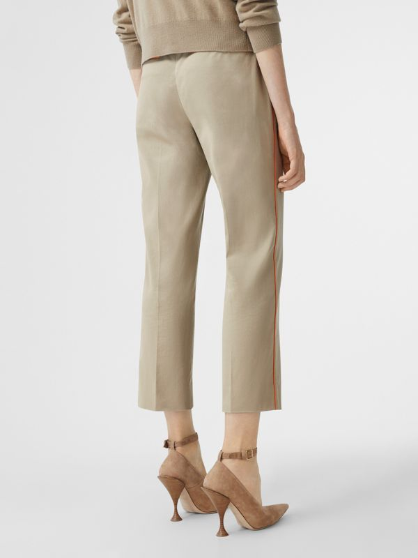 Silk Trim Cropped Cotton Chinos in Honey - Women | Burberry - cell image 2