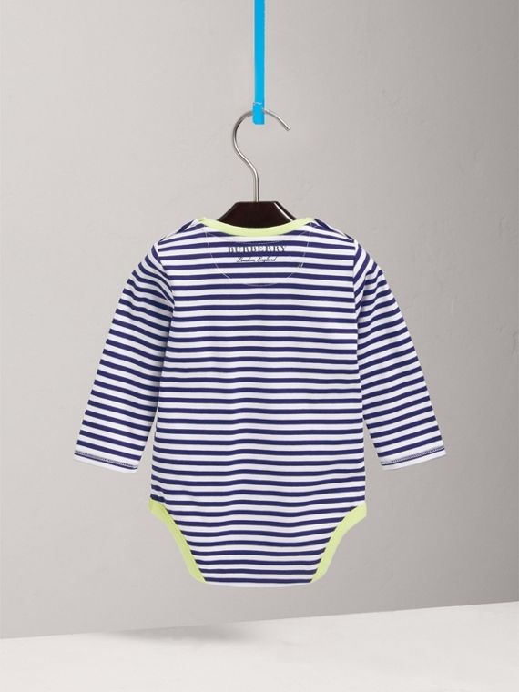Striped Cotton Bodysuit in Bright Navy | Burberry United Kingdom - cell image 3