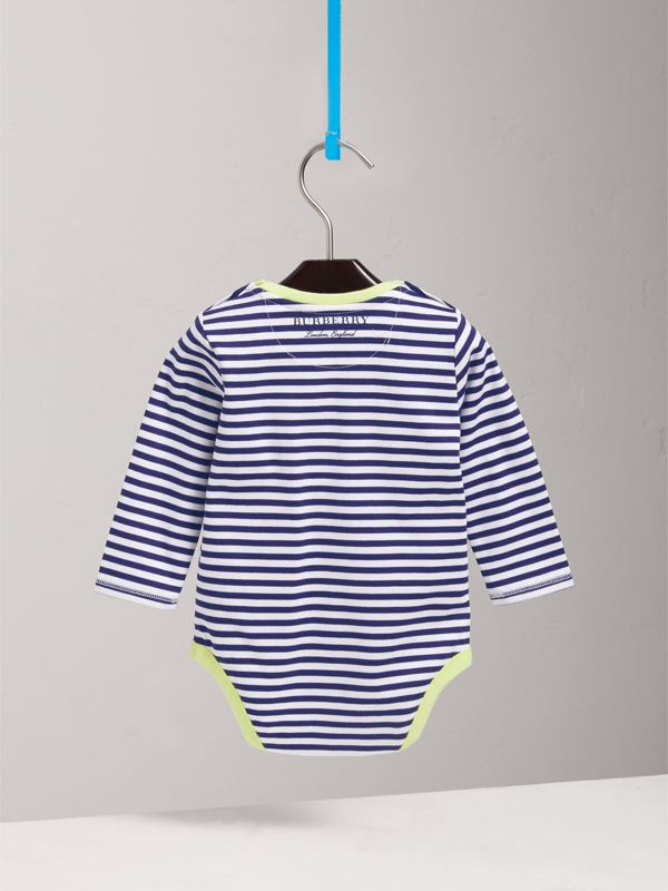 Striped Cotton Bodysuit in Bright Navy | Burberry - cell image 3