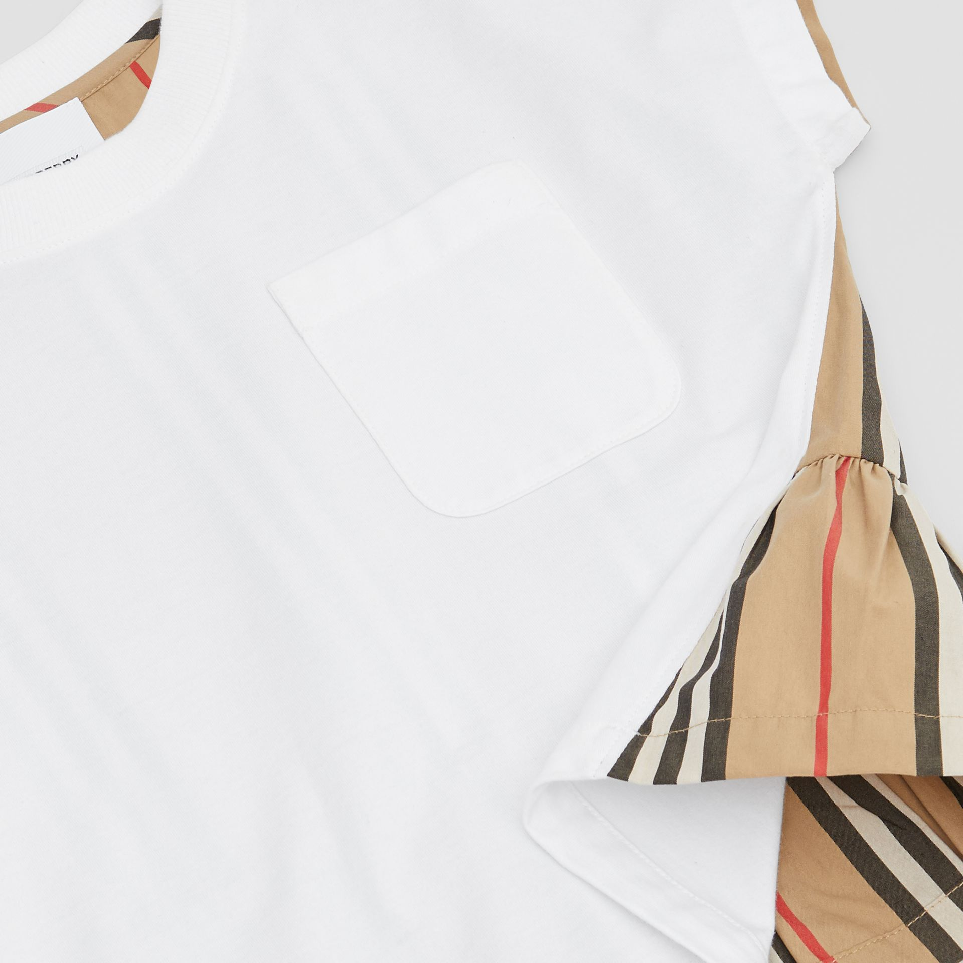 Icon Stripe Panel Cotton T-shirt in White | Burberry - gallery image 1