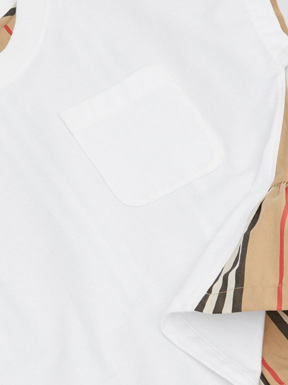 Icon Stripe Panel Cotton T-shirt in White | Burberry - cell image 1