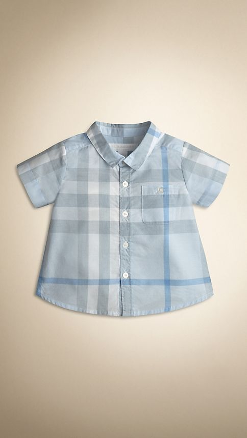Porcelain blue Washed Check Cotton Short Sleeve Shirt - Image 1