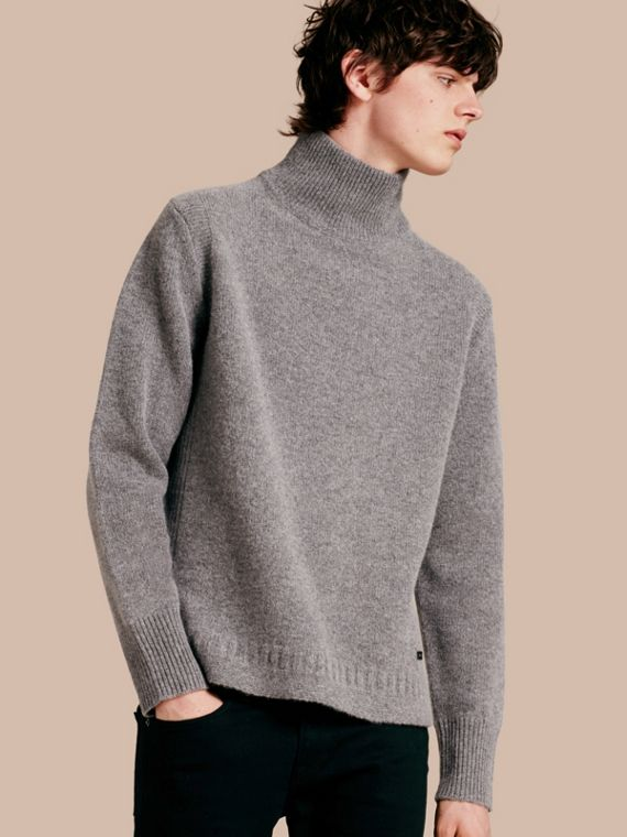 Funnel Neck Wool Sweater Mid Grey Melange