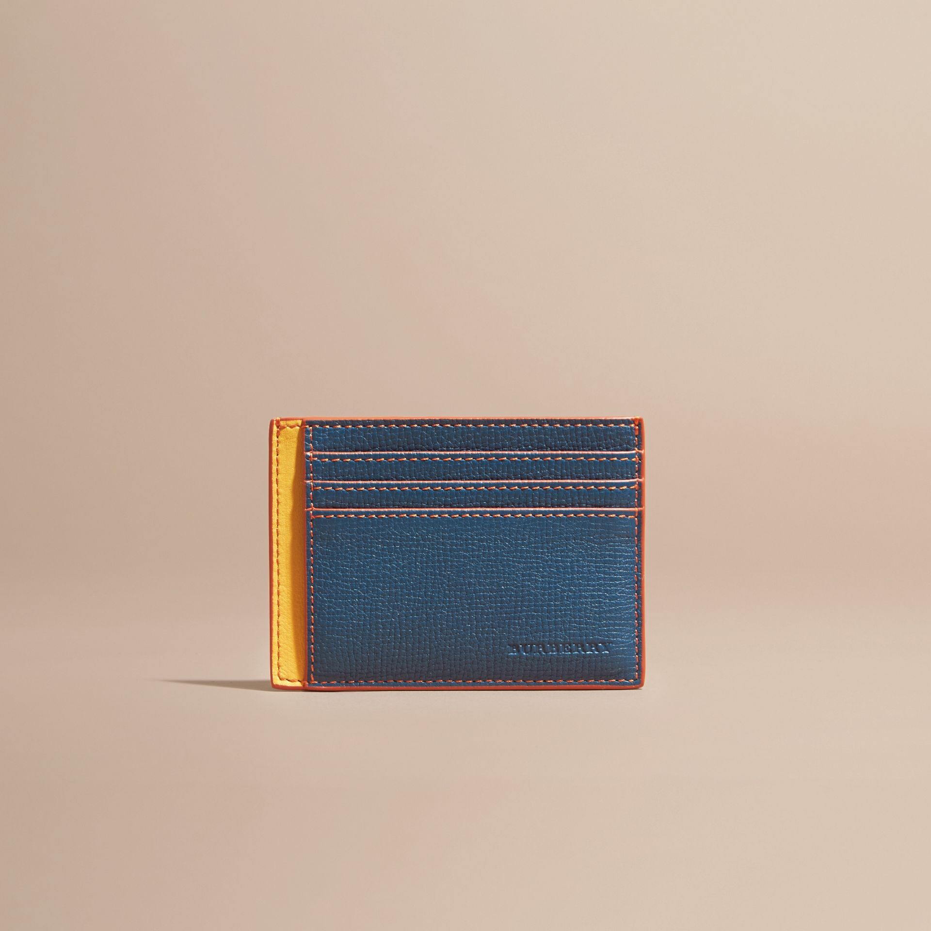 Marine blue Colour Block Leather Card Case Marine Blue - gallery image 6