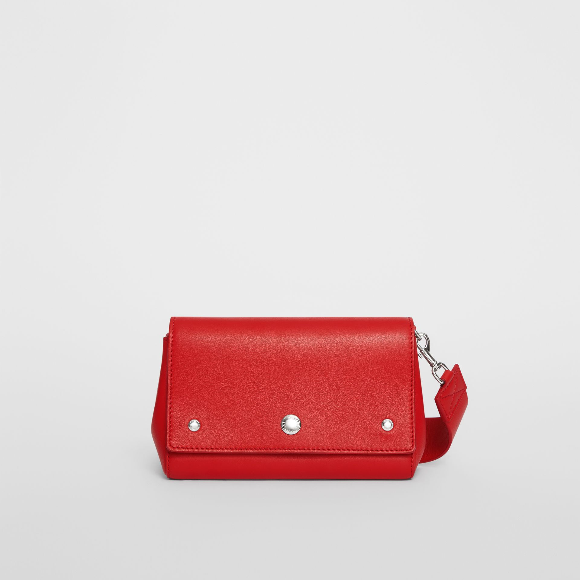 Small Quote Print Grainy Leather Crossbody Bag in Bright Military Red - Women | Burberry - gallery image 0
