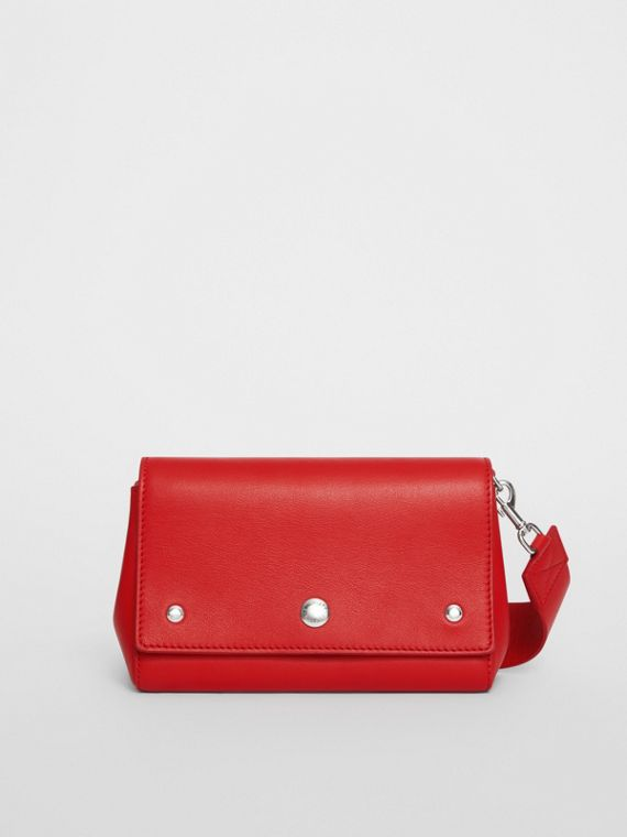 Small Quote Print Grainy Leather Crossbody Bag in Bright Military Red