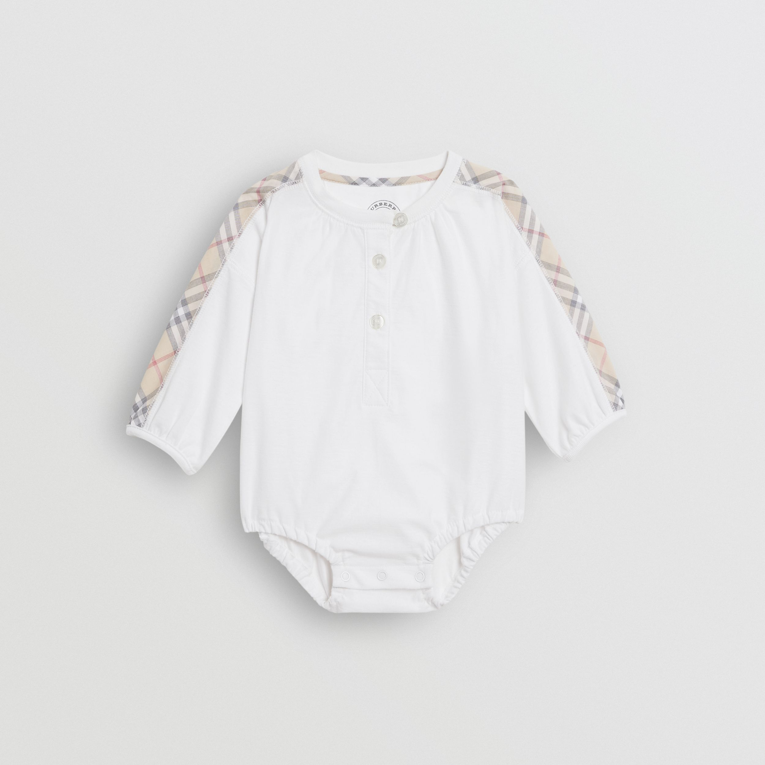 Check Cotton Three-piece Baby Gift Set in White - Children | Burberry - 3