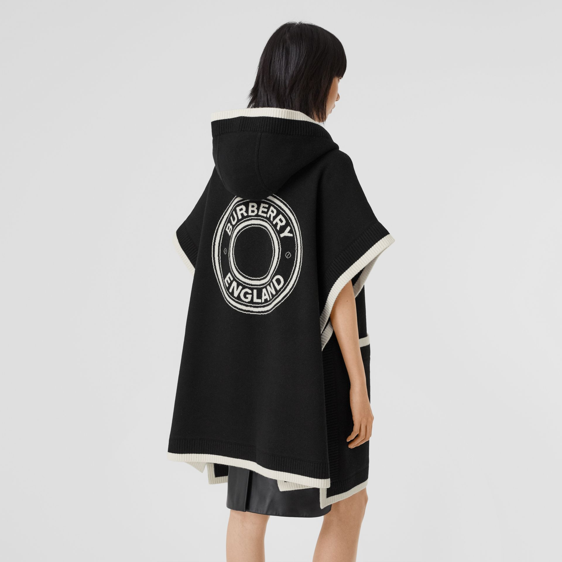 Logo Graphic Wool Cashmere Jacquard Hooded Cape in Black - Women | Burberry United States - gallery image 5