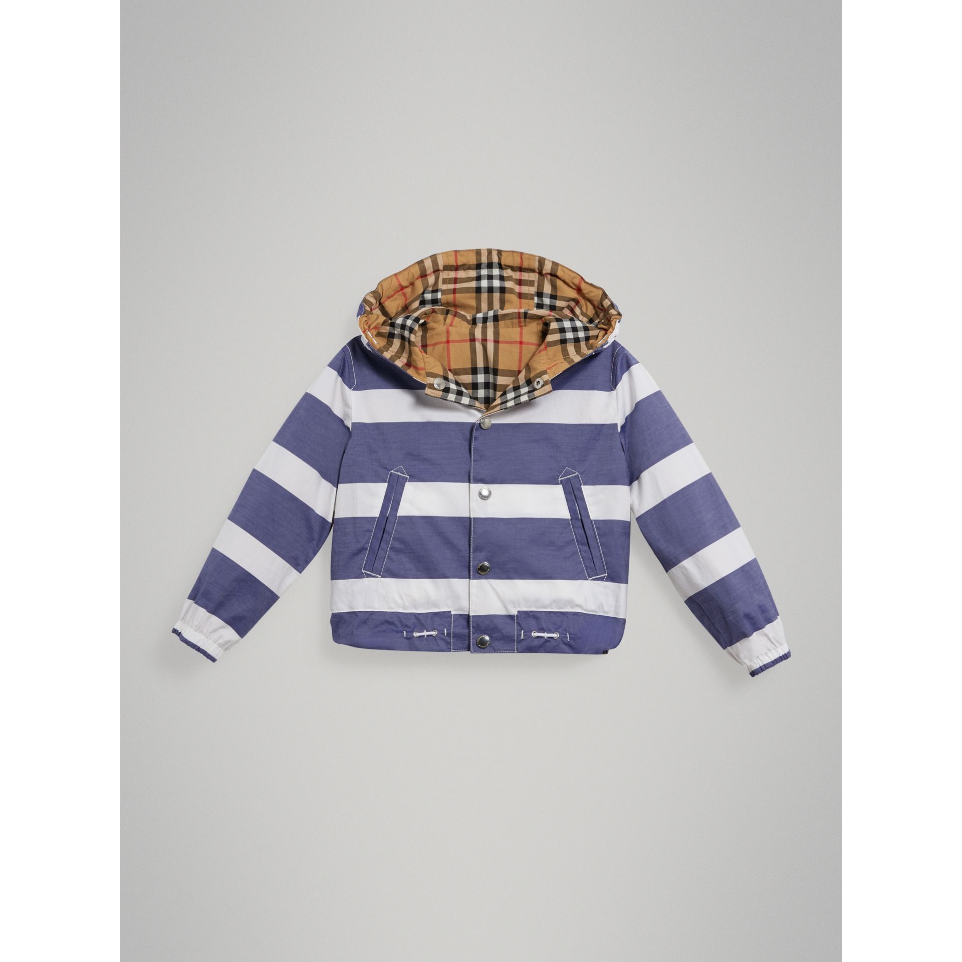 Reversible Stripe and Vintage Check Cotton Jacket in Navy/white | Burberry United Kingdom - gallery image 0