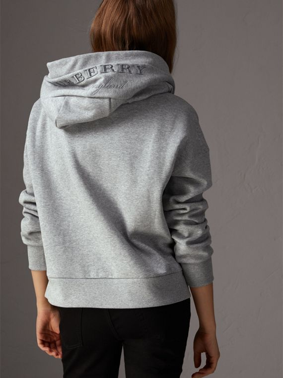 Embroidered Hood Fleece-back Jersey Sweatshirt in Pale Grey Melange