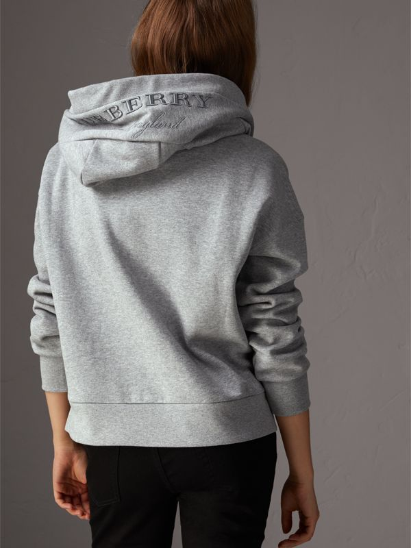 Embroidered Hood Fleece-back Jersey Sweatshirt in Pale Grey Melange - Women | Burberry - cell image 2