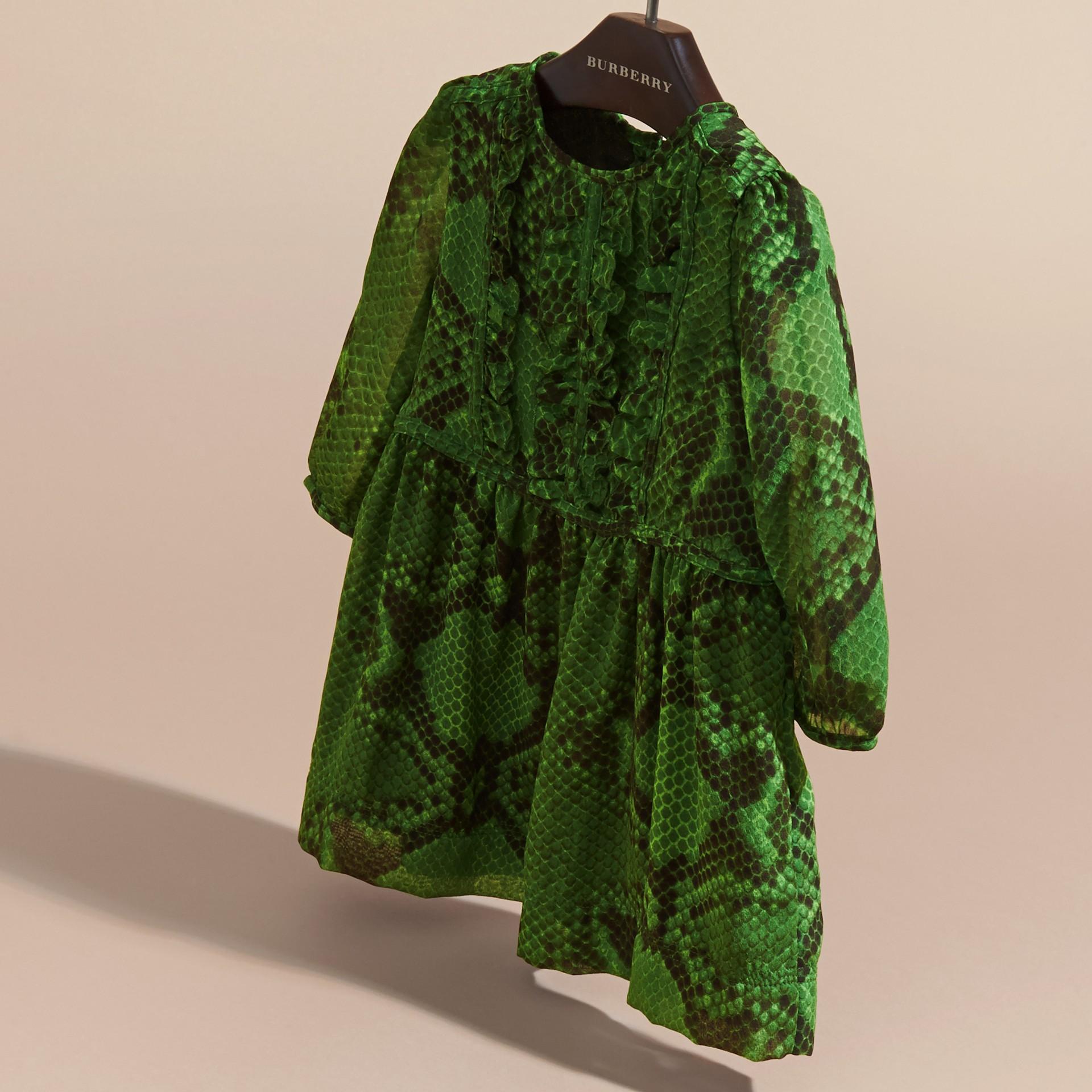 Bright green Python Print Ruffle-bib Silk Dress - gallery image 3