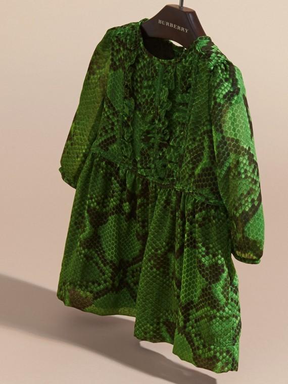 Bright green Python Print Ruffle-bib Silk Dress - cell image 2