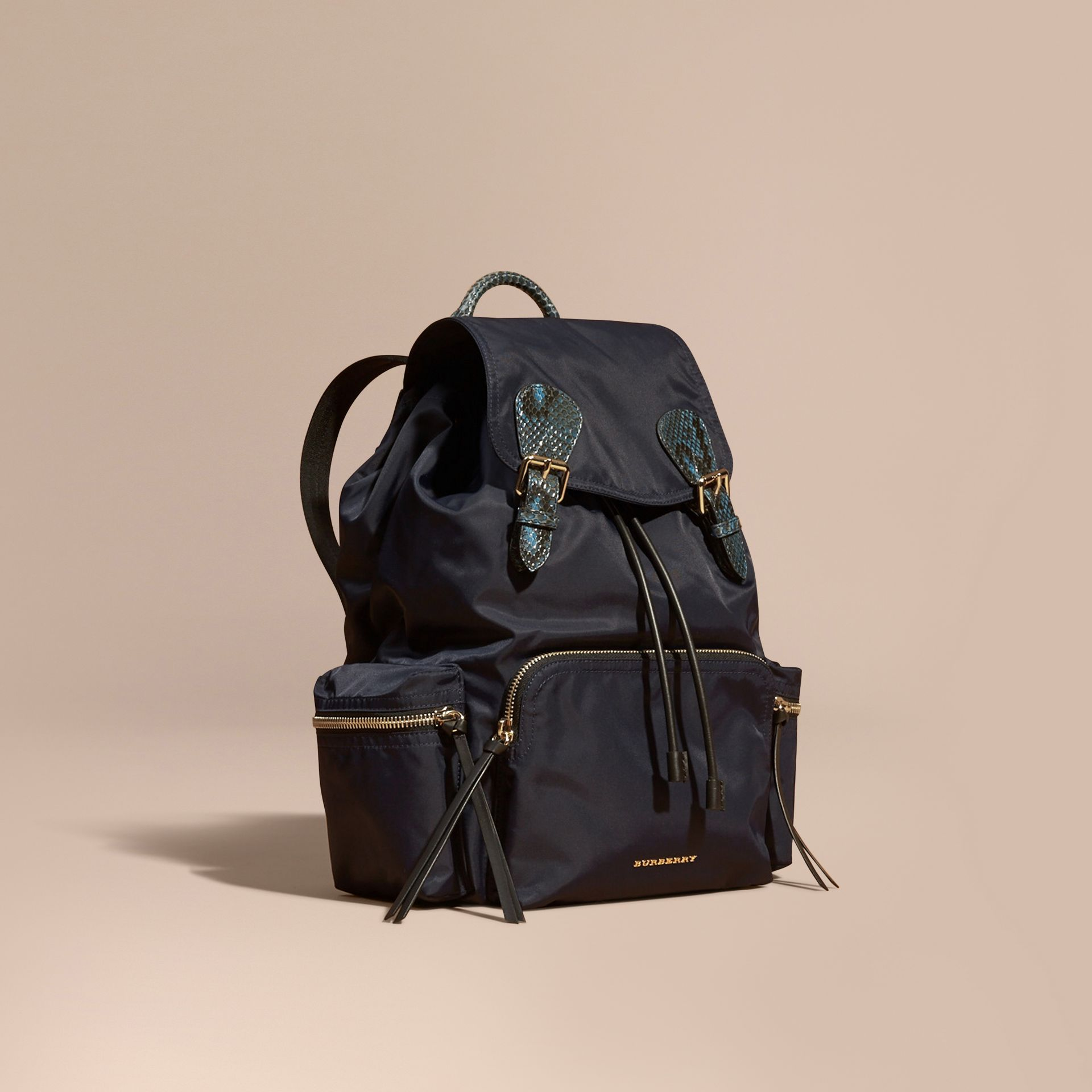 The Large Rucksack in Technical Nylon and Snakeskin in Ink Blue/mineral Blue - gallery image 1